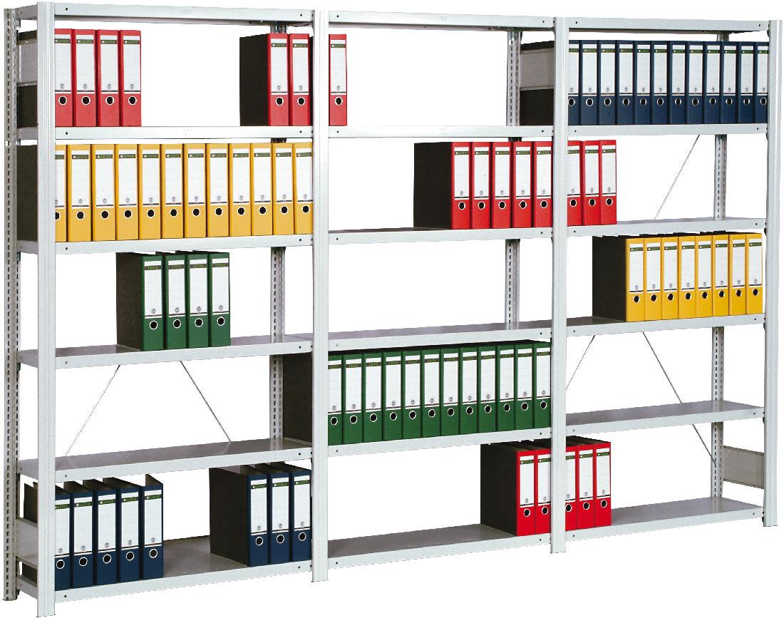 Regalwerk BERT Büroregal Lichtgrau 150 Fachlast 150 kg - 6 bis 7 Fachböden (RW-C-B3-56108-30) Bild-01