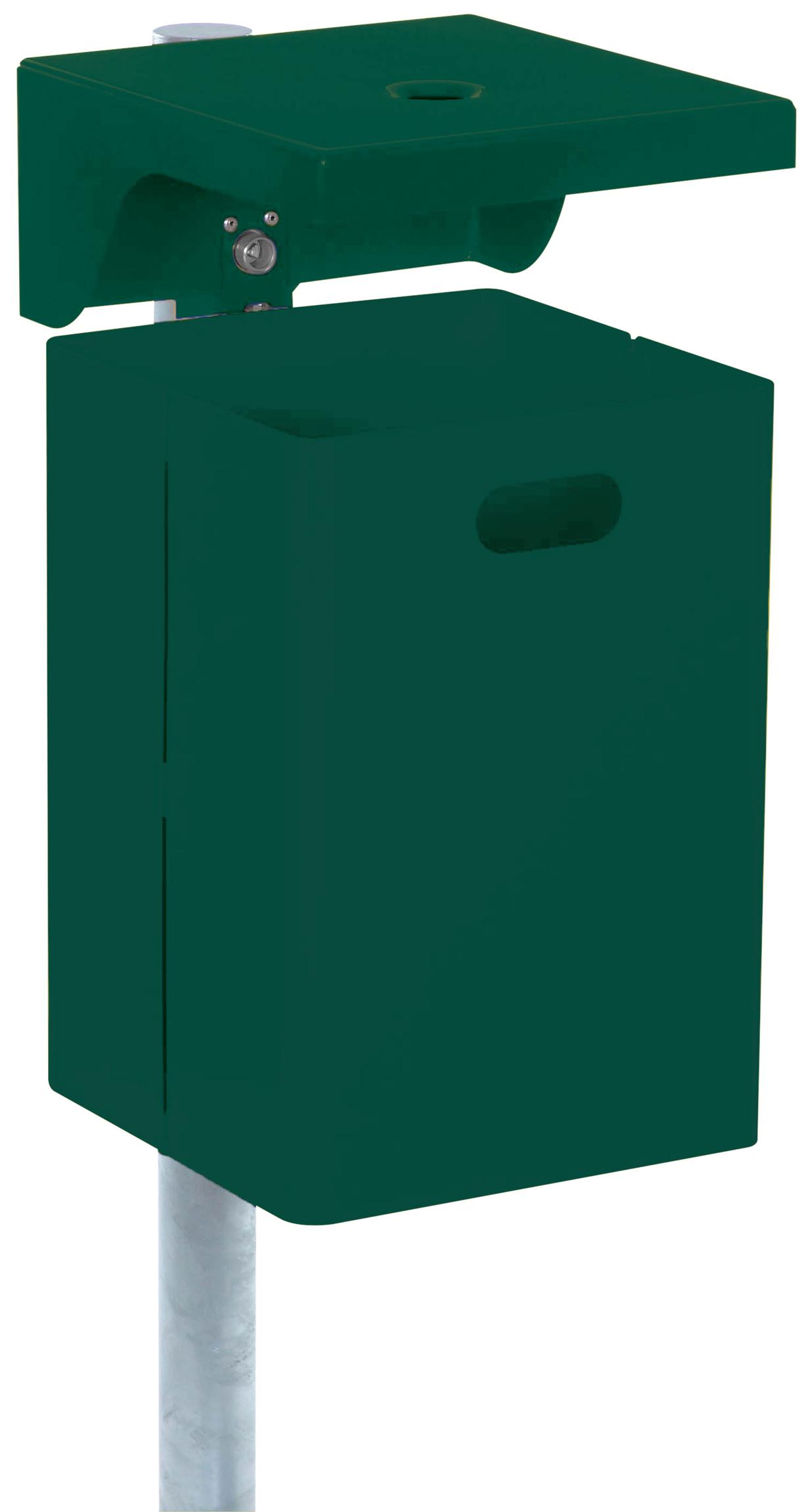 Schake Abfallbehälter rechteckig mit Dach und Ascher - 40 Liter