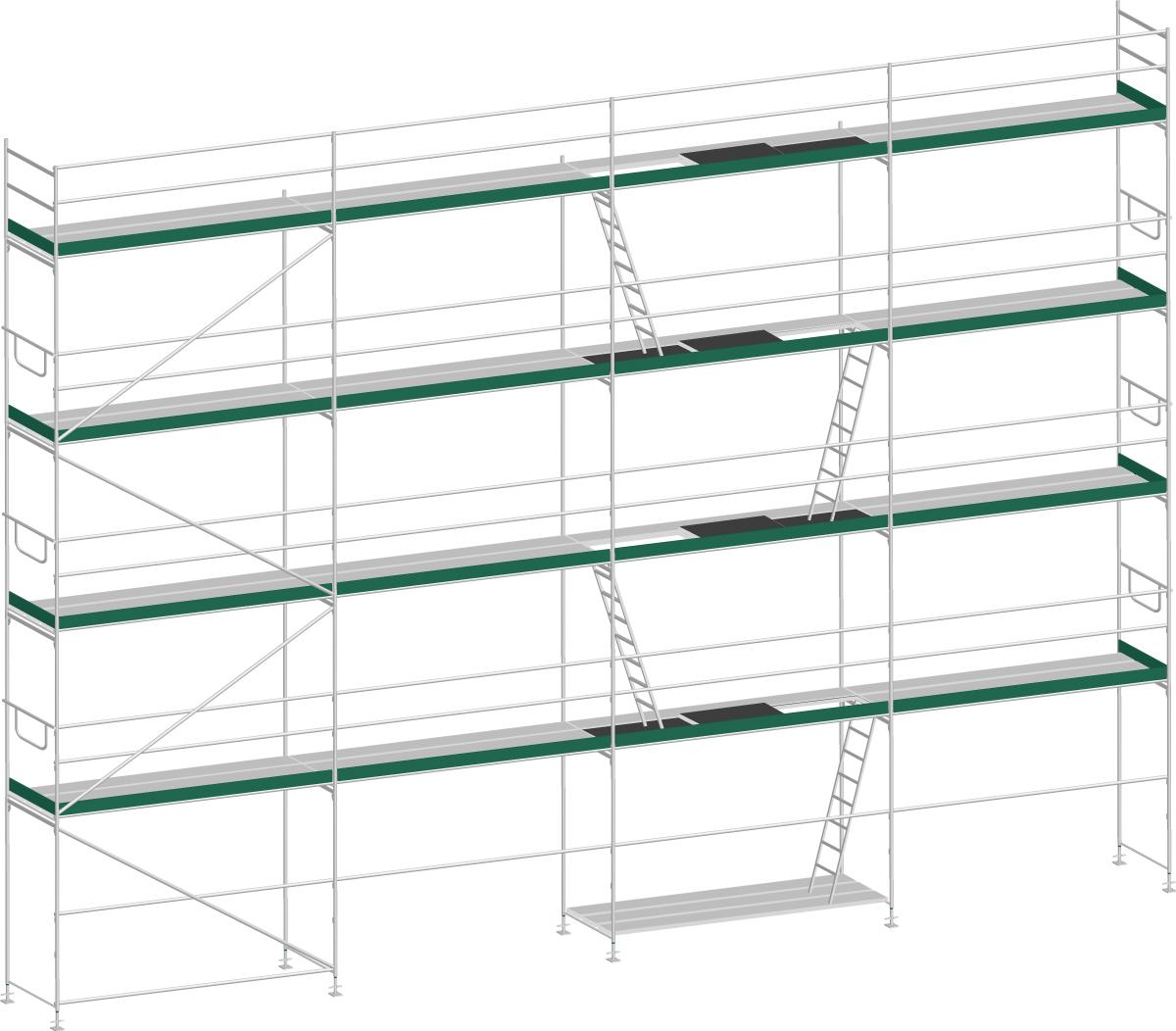 MJ Gerüst UNI 70 Aluminium mit Aluboden - Feldlänge 2,50 m