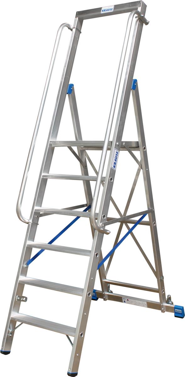 Krause Alu-Stufenstehleiter mit großer Standplattform 6 Stufen