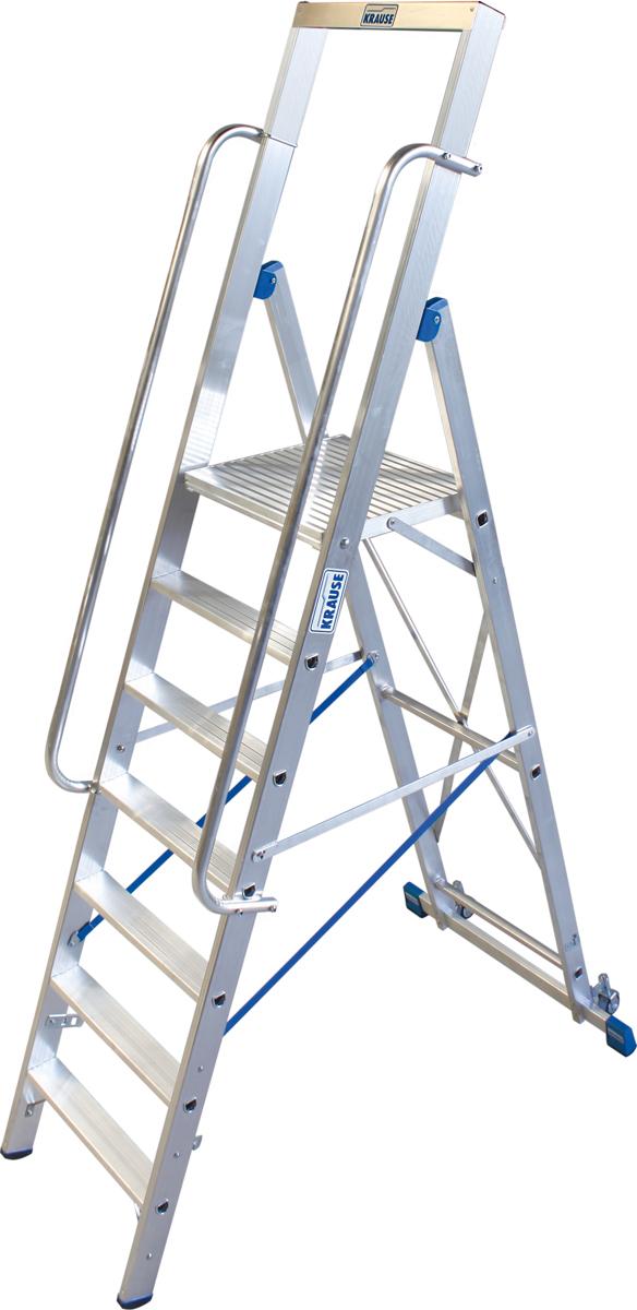 Krause Alu-Stufenstehleiter mit großer Standplattform 7 Stufen