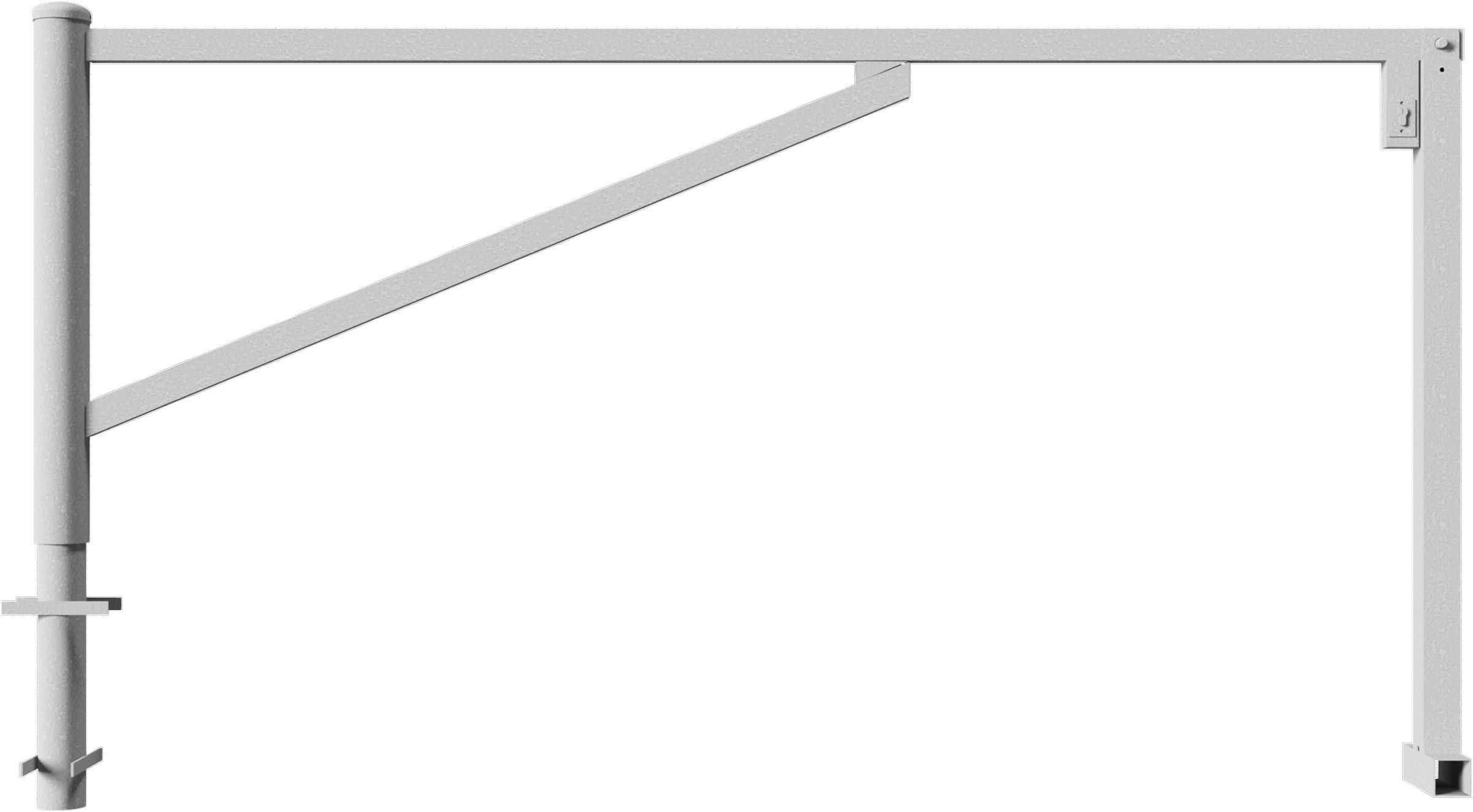 Schake Drehschranke mit 2 Auflagestützen - Schrankenbaum 60 x 40 mm verzinkt