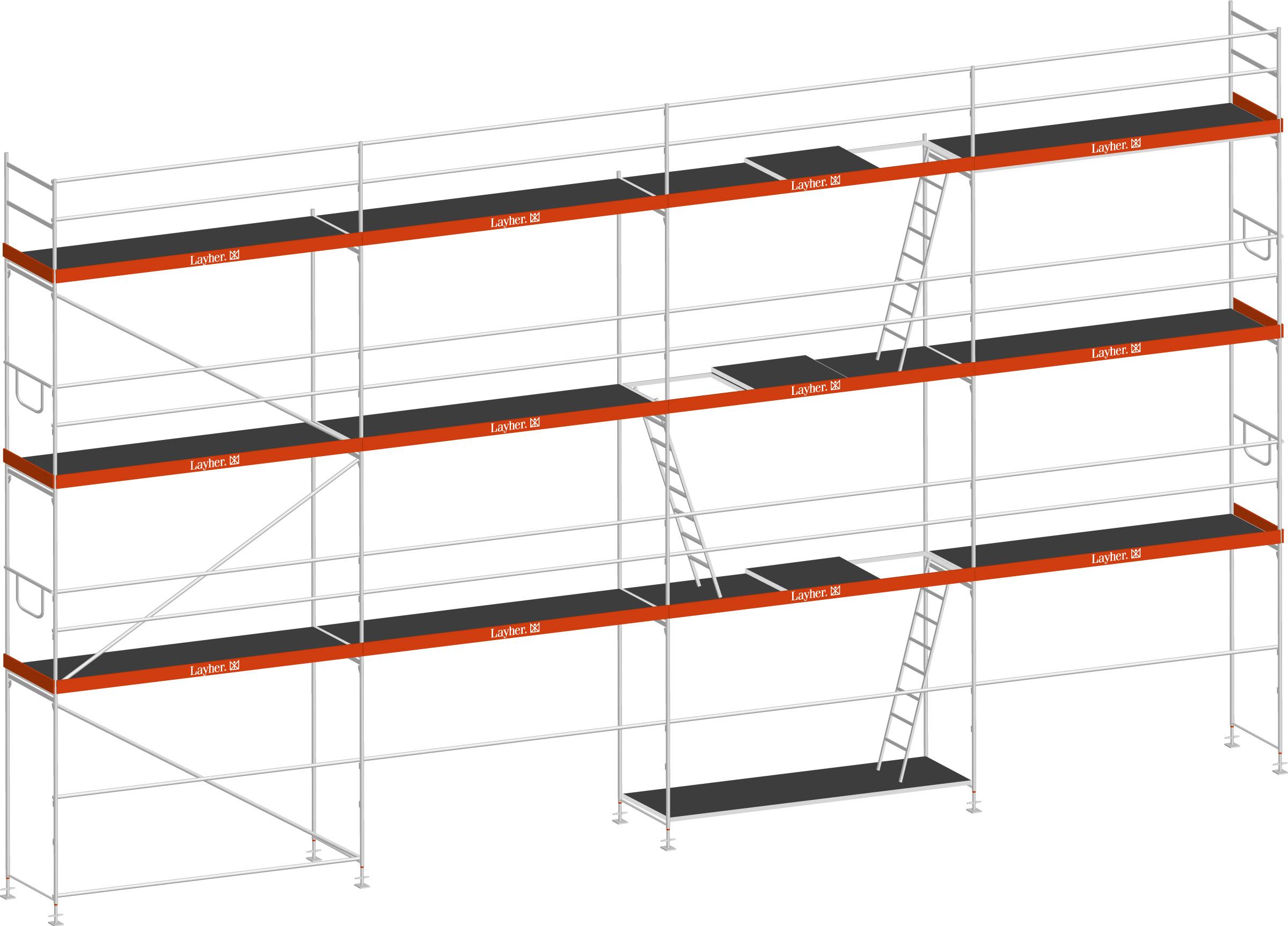 Layher Blitz Gerüst 70 Stahl 101 m²